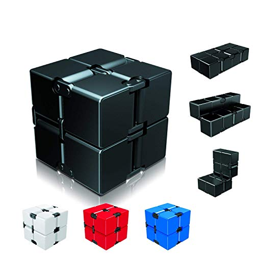Infinity Cube Fidget Toy for Kids and Adults, Fidget Cube Cool Mini Magic Cube Gadget Spinner for Stress and Anxiety Relief and Kill Time by Ganowo (Black)
