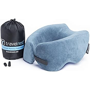 Travelrest - Ultimate Memory Foam Travel Pillow / Neck Pillow - Therapeutic, Ergonomic & Patented - Washable Cover - Most Comfortable Neck Pillow -- Compresses to 1/4 of it's Size (2 Year Warranty)
