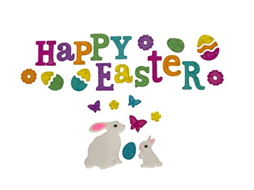 Happy Easter Letters with Bunnies and Butterflies Gel Charms Window Clings Bundle Set of ()