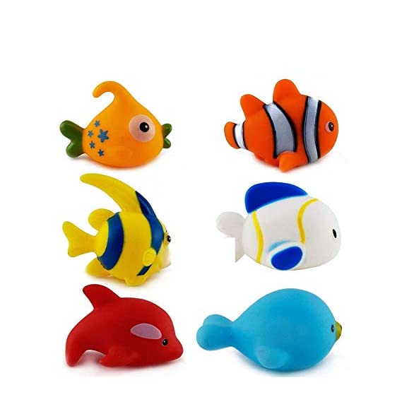 FunBlast Bath Toys for Baby - Colorful Fish Bath Toys | Toddler Baby Bathtub Bathing Squeeze Bath Toy - Set of 6