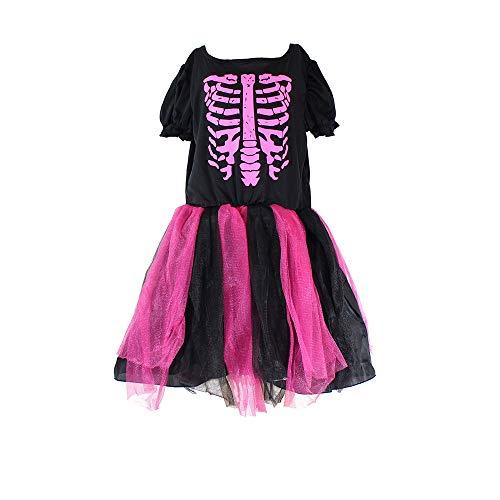 (Girls Skeleton Costume Kids Halloween Zombie Bride Fancy Dress Cosplay-Ruby(7-9)