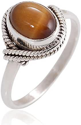 925 Sterling Silver Tiger Eye Gemstone Oval Rope Edge Vintage Band Ring Size 6, 7, 8