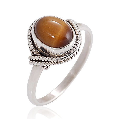 Chuvora 925 Sterling Silver Brown Tiger Eye Gemstone Oval Rope Edge Vintage Band Ring Size 7 - Tigers Eye Rope
