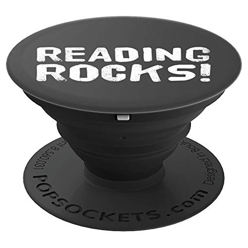 (READING ROCKS Art Funny Book Reader Library Nerd Gift Idea - PopSockets Grip and Stand for Phones and)