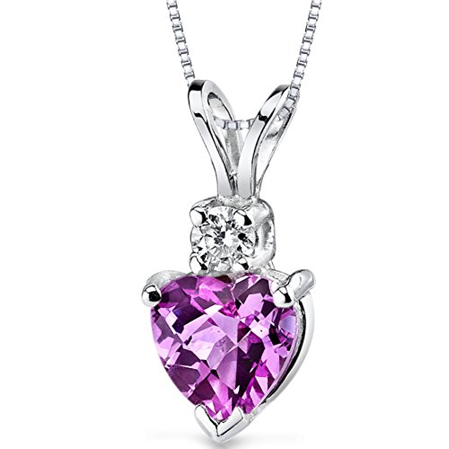 (14 Karat White Gold Heart Shape 1.00 Carats Created Pink Sapphire Diamond Pendant)