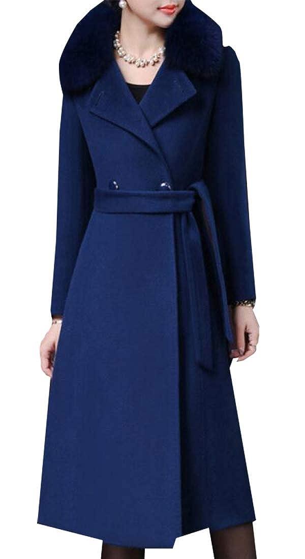 Dart bluee Esast Womens Business Long Sleeve Thicken Fur Faux Pea Coat Overcoat with Belt