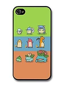 Video Game Pocket Monsters Evolution Green Blue Pink Stripes case for iPhone 4 4S