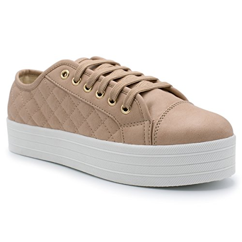 Breckelles - Womens Soft Quilted Fashion Sneaker Natural akaL4KoaK