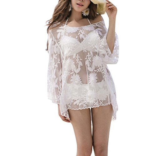 iBaste Mujer Moda Verano Malla de Encaje Manga Larga Blusa de Playa Blanco