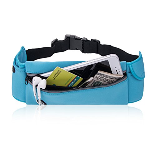 B-Land Running Belt - Water Resistant Runners Waist Pack Fanny Pack Workout Belt for Hiking - Adjustable Pouch Bag for iphone 6/7 /Plus Andriod Windows (Blue)