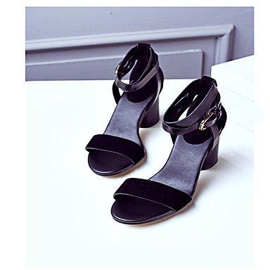 LvYuan Mujer Sandalias Confort PU Verano Casual Confort Tacón Plano Negro Marrón Plano Black