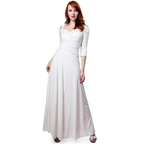 Evanese Women's Elegant Slip On Long Formal Evening Dress with 3/4 Sleeves S, Creme