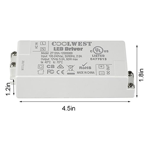 COOLWEST Transformer Driver Power Supply 60W 12V for LED Strip Lights and G4, MR11, MR16 Light Bulbs by COOLWEST (Image #8)