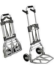 ATHLON TOOLS Aluminium opvouwbare handkar - soepel lopende wielen met zachte loopvlakken - incl. 2 uitbreidingskoorden
