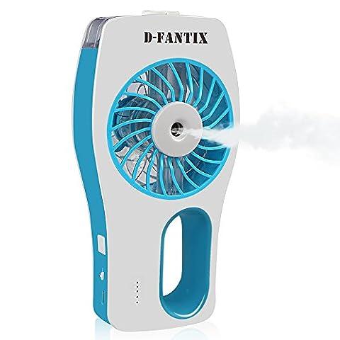 D-FantiX Handheld Fan Battery Operated Portable Water Misting Fan Personal Mist Fan for Travel, Home, and Office - Blue Little Fan