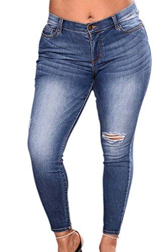 Las Mujeres De Cintura Alta Casual Jeans Denim Pantalones Tallas Grandes Agujeros Azul