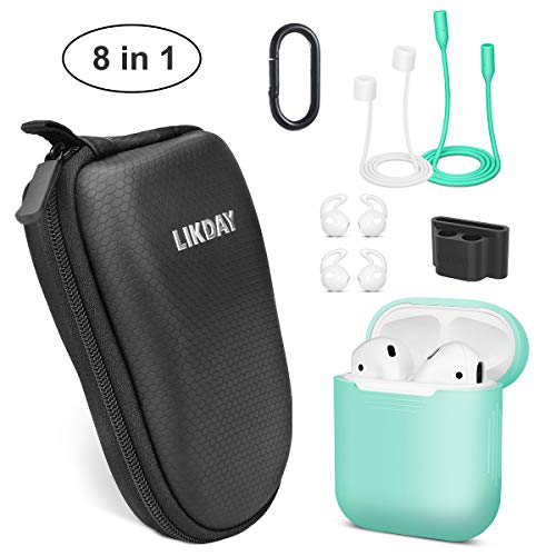 8 in 1 Airpods Accessories Set, Likday Silicone Case Cover Set for Airpods with (Holder, Earhooks, Earphone Case, Strap,EVA Hard Shell Box, Carabiner) (Black Box & Green Case)