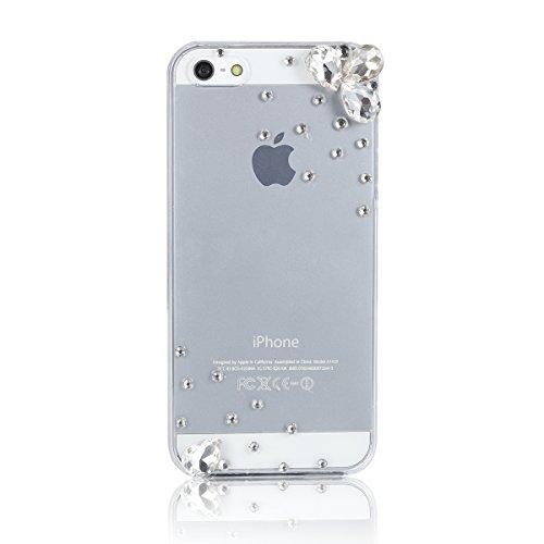 JewelryWe Einfache Strass Handy Case Schutzhülle Tasche Hülle Rückenschutzhülle Etui für Apple iPhone 5/5S Transparent