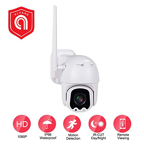 EVERSECU Outdoor PTZ (4X Optical Zoom) HD 1080P WiFi Security Camera – Pan Tilt Wireless IP Camera with Night Vision up to 196ft, IP66 Weatherproof, Motion Alerts, SD Card and Cloud Storage