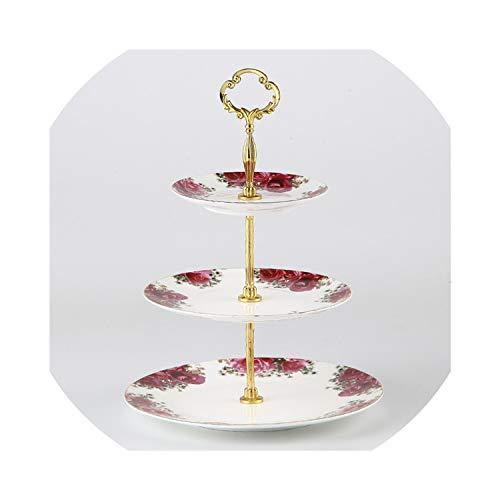 - Triple Decker Plates Fruit Dishes Cake Ceramic Tray Porcelain Tableware Decoration,Princess Rose