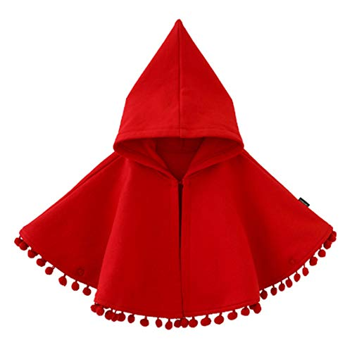 Fairy Baby Baby Girls Clothes Cloak Kids Warm Poncho Hood Cape Coat Snowsuit Winter Outfit (12-18M, Red)