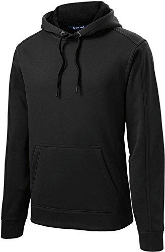 Sport-Tek Men's Repel Fleece Hooded Pullover ST290 (X-Large, Black) (Sport Fleece Pullovers Hooded)