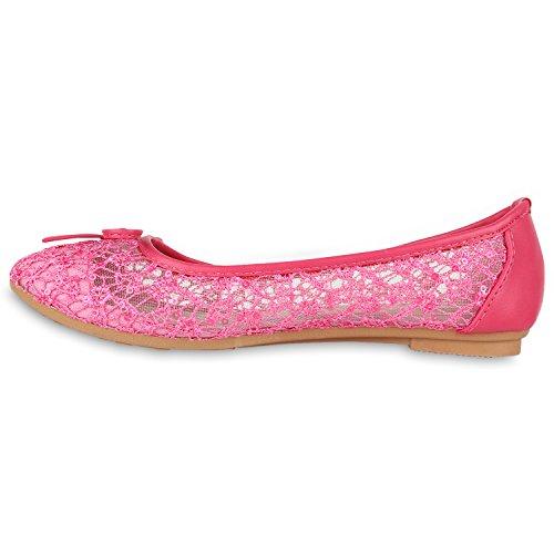 Stiefelparadies Klassische Damen Ballerinas Slippers Flats Übergrößen Flache Schuhe Metallic Spitze Glitzer Abendschuhe Flandell Spitze Pink