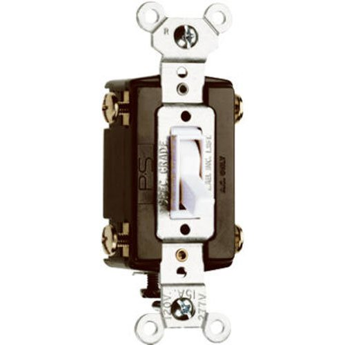 Eaton 1242-7W-BOX 15-Amp 120-volt Standard Grade 4-Way Toggle Switch with Push and Side Wiring, Grounding, White