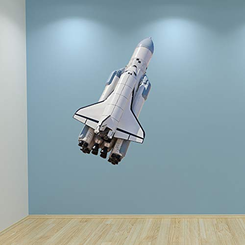Full Colour Space Rocket Shuttle Boys Bedroom Wall Sticker Decal Kids Bedroom Decoration