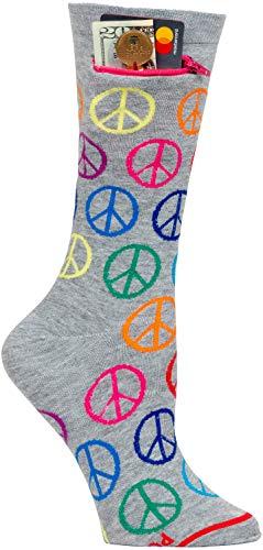 Pocket Socks Women's Fashion Crew Socks with a Secure Zippered Pocket Peace & Love (One ()