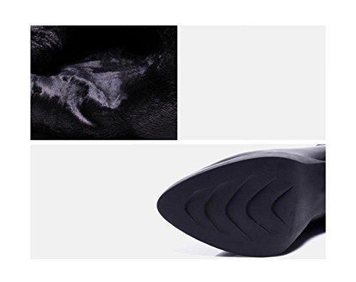 Martin stivali in pile 35 alti in 36 moda Punta donna alla Genuino stivali pelle tacchi nudo calda wX7qB1f