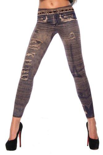 Fashion Denim Look Ripped Faux Jean Blue Leggings Tights Pants (F007br)