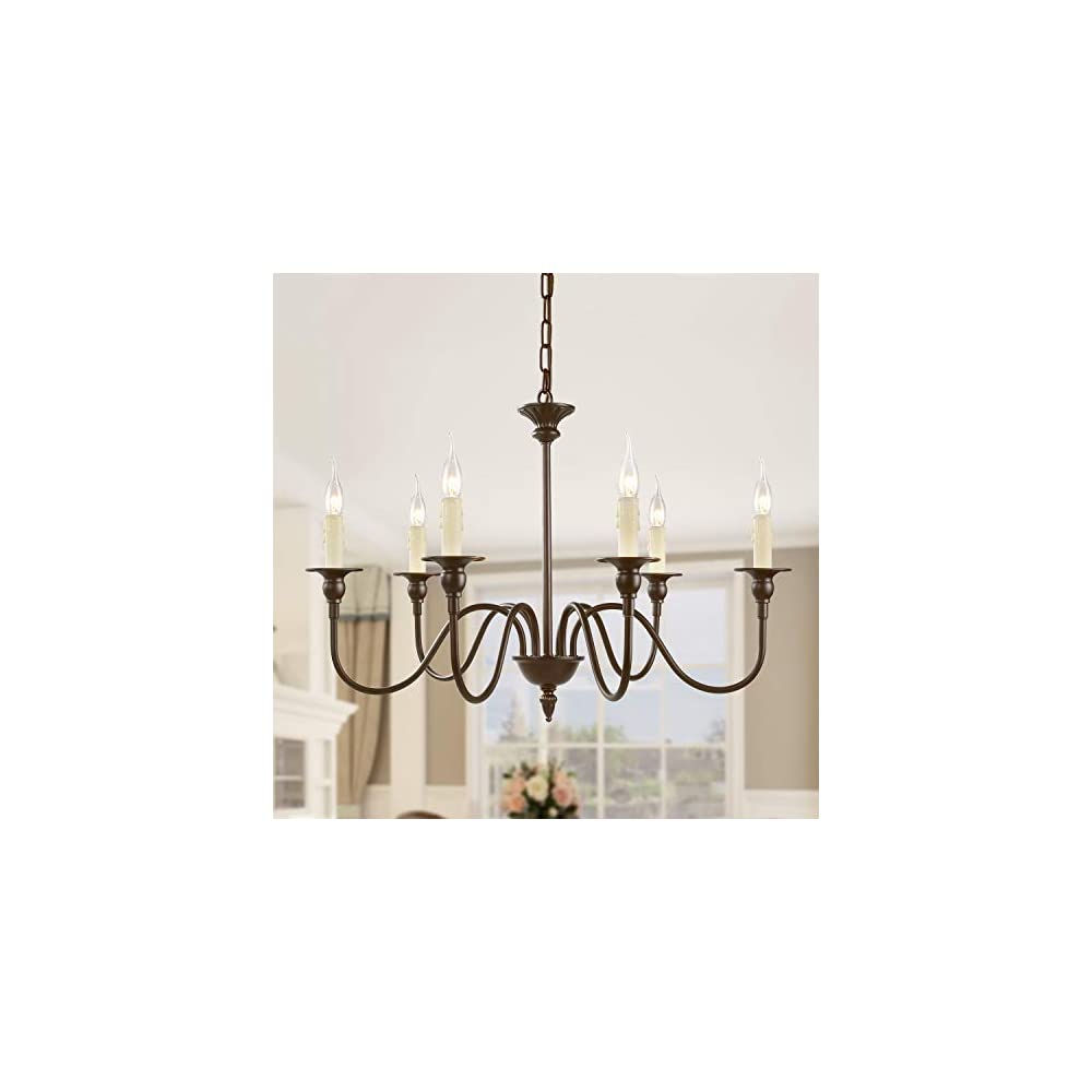 """LNC A02995 25.6"""" Farmhouse Chandelier 6-Light Fixture for Dining & Living Room, Foyer, Entryway and Bedroom, (Oil Rubbed Brown)"""