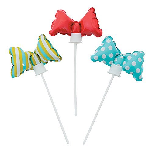Fun Express Lil Man Bow Tie Self-Inflate Balloons (12 Pack) Mylar