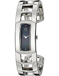 Calvin Klein Womens K3Y2M11S Dress Black Dial Stainless Steel Bangle Swiss Quartz Watch