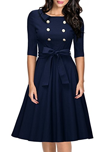 Miusol Women's 3/4 Sleeve Classy Casual Belted Vintage Retro Evening Swing Dress Navy Blue Large ()