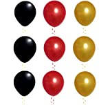 "Elecrainbow 100 Pack 12"" Round Pearlescent Thicken Latex Balloons - Shining Black + Red + Gold Colors - Be Aware of Safety in Use & Have Fun!"
