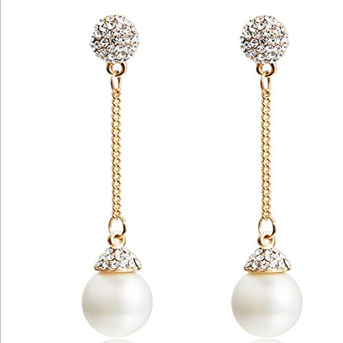 Green South Round Pearl Sea (HeyGirl Christmas Long White Temperament Exaggerated Pearl Earrings)