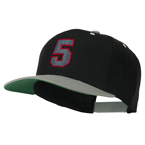 (Athletic Number 5 Embroidered Classic Two Tone Cap - Black Grey OSFM)