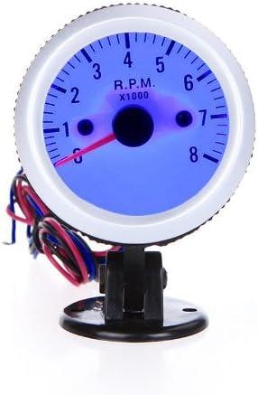 Andoer Drehzahlmesser Tachometer Tach Gauge Mit Halter Cup F R Auto Auto 2 52mm 0 8000rpm Blauem Led Licht Auto