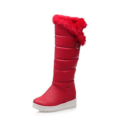 Kitten Boots top Red on High AllhqFashion Round Pull Womens Heels Toe Soft Material Closed Bq78RqSx