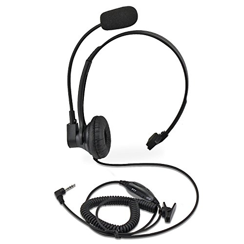 abcGoodefg Walkie Talkie Earpiece Headset with Mic, 1 Pin 2.5mm Noise Cancelling Overhead Headphone Headset Compatible with Motorola Talkabout 2 Way Radio