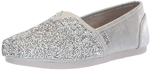 - BOBS from Skechers Women's Luxe Bobs - Chunky Rhinestone slip on w memory foam Shoe, sil, 11 M US