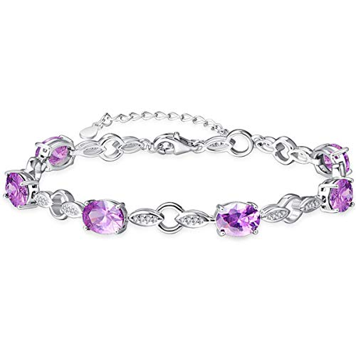 BONLAVIE Oval Cut Created Amethyst Round Cut White CZ Sterling Silver Adjustable Chain Bracelet for her ()