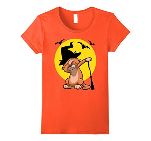 Teenage Girl Cat Halloween Costumes (Womens adorable dabbing Halloween Cat in witch hat Tshirt Small Orange)