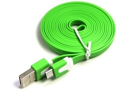 Kyocera DuraXTP Flip Phone Flat Wire 3 Ft. Micro USB Charging/Data Cable - Use with Existing USB OUTLET or Car Charger or Computer USB-Green -  Cellet