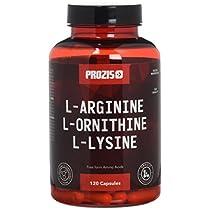 Prozis L-Arginine L-Ornithine L-Lysine:Suplemento puro en cápsulas. Complejo de aminoácidos esenciales para optimizar la salud cardiovascular, la pérdida de peso y los niveles energéticos.120 cápsulas