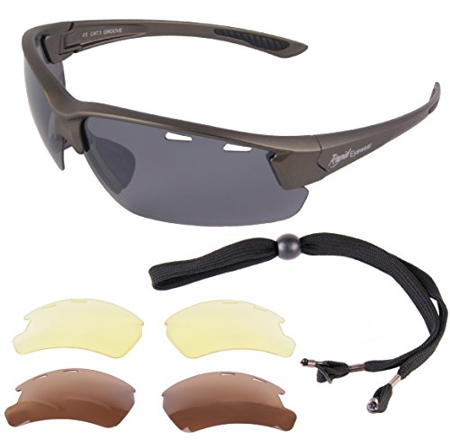 Groove Silver Gray UV400 POLARIZED SUNGLASSES FOR FISHING & SPORT Interchangeable (Best Sunglasses For Rc Flying)