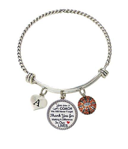 Bracelet Custom Basketball Coach Thank You Gift Wire Jewelry Choose Initial Bracelet - Adj Wire