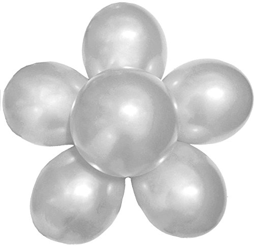 Elecrainbow 100 Pack 12 Inch 3.2 g/pc Thicken Round Metallic Pearlescent Latex Balloons - Shining Silver Balloons for Party Supplies and Decorations